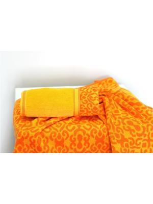 Набор махровых полотенец ФЛОРА  оранжевый (50*90+70*140) TOALLA. Цвет: оранжевый