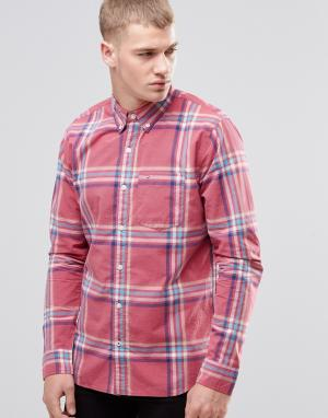 Hollister Клетчатая рубашка из поплина узкого кроя. Цвет: розовый