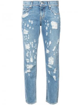 Укороченные джинсы с протертостями Derek Lam 10 Crosby. Цвет: синий