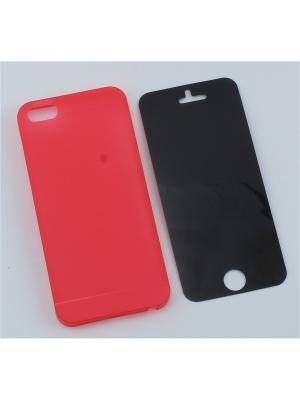 Накладка ультратонкая для iPhone 5, 5S, SE с защитной пленкой Радужки. Цвет: красный
