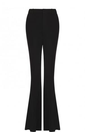 Однотонные расклешенные брюки из вискозы Gucci. Цвет: черный