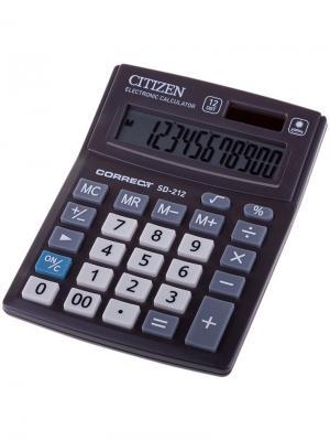 Калькулятор настольный Correct D 16 разрядов, двойное питание, 155*205*28 мм, черный CITIZEN. Цвет: черный