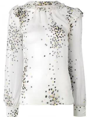 Блузка с принтом конфетти Marco Bologna. Цвет: белый