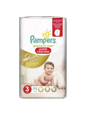 Трусики Premium Care Pants 6-11кг, размер 3, 56 шт. Pampers. Цвет: золотистый