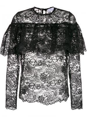 Прозрачная кружевная блузка с оборками Gaelle Bonheur. Цвет: чёрный