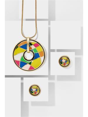 Набор украшений цепочка с кулоном и серьги Экзотика Востока Nothing but Love. Цвет: желтый, зеленый, розовый