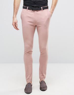 ASOS Розовые супероблегающие брюки в строгом стиле. Цвет: розовый