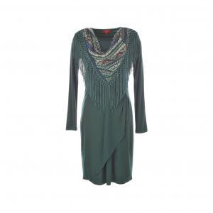 Платье Satin, фуляр с бахромой RENE DERHY. Цвет: хаки темный