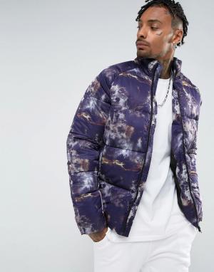 ASOS Фиолетовая дутая куртка с принтом. Цвет: фиолетовый