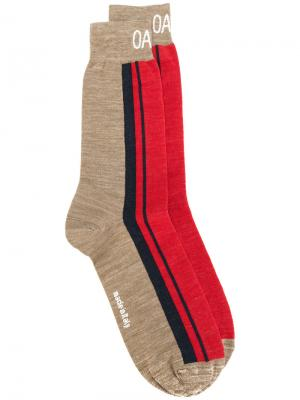 Носки дизайна колор-блок Oamc. Цвет: коричневый