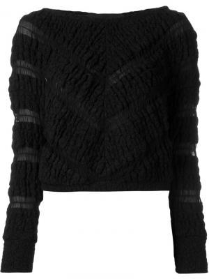 Укороченный свитер с узором Jay Ahr. Цвет: чёрный