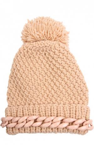 Шерстяная шапка с декоративной цепью и помпоном 7II. Цвет: бежевый