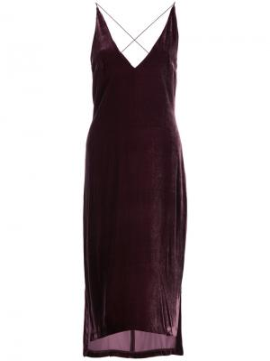 Тонкое бархатное платье-комбинация Dion Lee. Цвет: красный