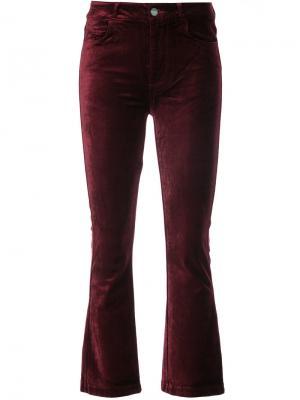 Бархатные укороченные брюки Paige. Цвет: красный