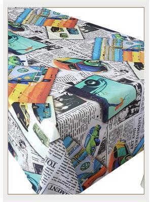 Скатерть с фотопринтом Открытки автомобилями Ambesonne. Цвет: белый, голубой, желтый, зеленый, красный, оранжевый, серый, синий, фиолетовый