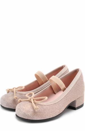 Текстильные туфли с бантами Pretty Ballerinas. Цвет: бежевый