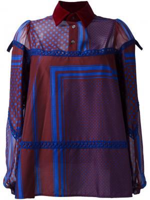 Блузка с узором Sacai. Цвет: синий