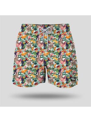 Шорты пляжные мужские JOHN FRANK. Цвет: зеленый, розовый