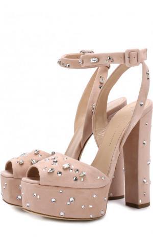 Замшевые босоножки с кристаллами на устойчивом каблуке и платформе Giuseppe Zanotti Design. Цвет: розовый