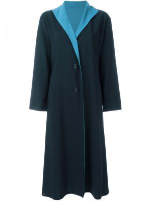 Пальто с контрастными лацканами Issey Miyake Vintage. Цвет: синий