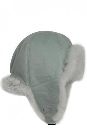 Шапка-ушанка с внутренней отделкой из меха кролика Yves Salomon Enfant. Цвет: светло-зеленый