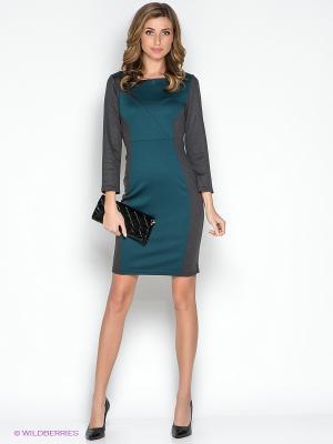 Платье МадаМ Т. Цвет: морская волна, темно-серый