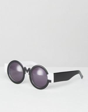 House of Holland Черно-белые солнцезащитные очки. Цвет: черный