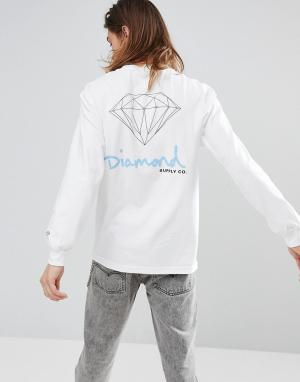 Diamond Supply Белый лонгслив с принтом. Цвет: белый