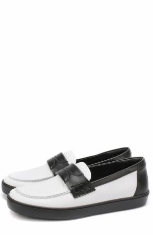 Кожаные мокасины с контрасным мысом Dolce & Gabbana. Цвет: черно-белый