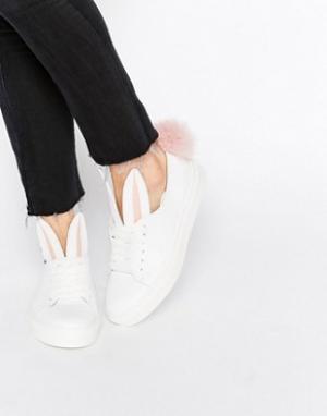 Minna Parikka Белые кожаные кроссовки с кроличьими ушками и хвостиком. Цвет: белый