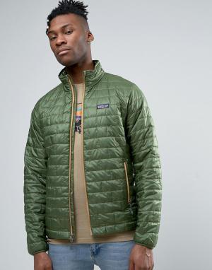 Patagonia Легкая зеленая дутая куртка Nano. Цвет: зеленый