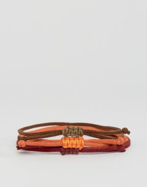 ASOS Набор браслетов (оранжевый, коричневый). Цвет: мульти