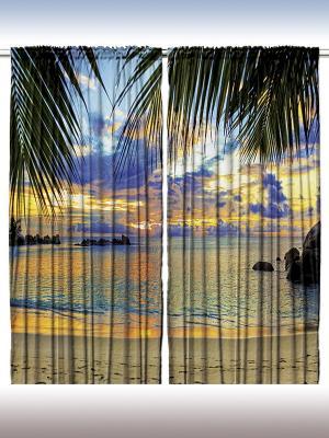 Комплект фотоштор из полиэстера высокой плотности Пальмы у тёплого моря, 290*265 см Magic Lady. Цвет: оранжевый