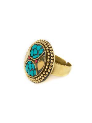 Кольцо Бирюзовая печать MZ0288 Indira. Цвет: зеленый
