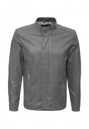 Куртка кожаная Piazza Italia. Цвет: серый