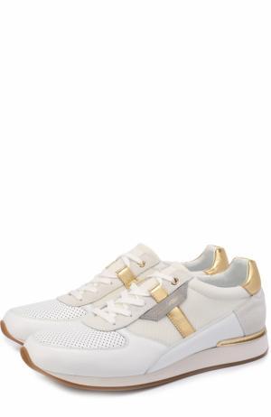 Кожаные кроссовки с контрастной отделкой и перфорацией Dolce & Gabbana. Цвет: белый