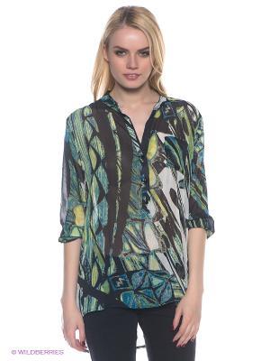 Блузка E.A.R.C.. Цвет: зеленый, молочный, черный, синий