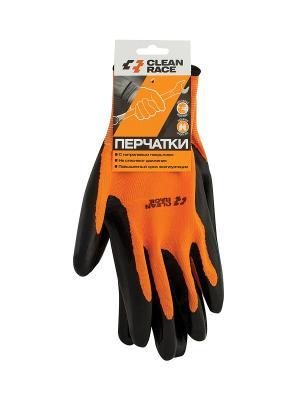 Перчатки с нитриловым покрытием 1пара. CLEAN RACE. Цвет: оранжевый, черный