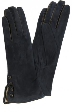 Замшевые перчатки с отделкой из кожи Sermoneta Gloves. Цвет: темно-синий