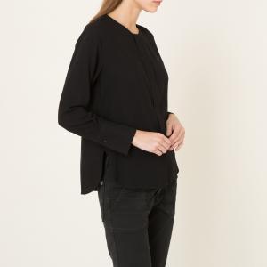 Блузка без воротника POMANDERE. Цвет: черный