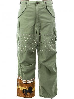 Расклешенные брюки с заклепками Junya Watanabe Comme Des Garçons. Цвет: зелёный