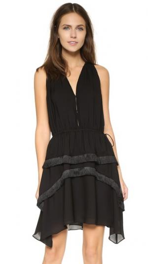 Платье с V-образным вырезом и бахромой Derek Lam 10 Crosby. Цвет: голубой