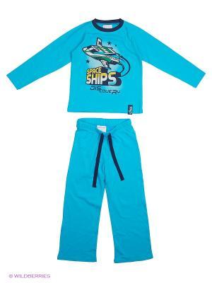 Комплект трикотажный для мальчиков: фуфайка (футболка с длинным рукавом), брюки PlayToday. Цвет: голубой