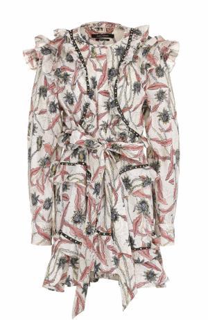 Мини-платье с оборками и цветочным принтом Isabel Marant. Цвет: бежевый