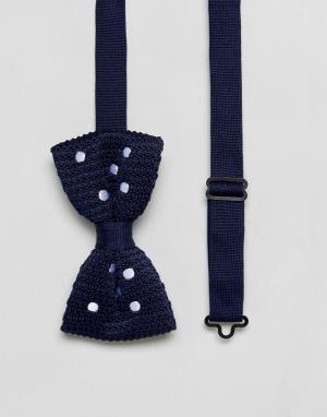 ASOS Вязаный темно-синий галстук-бабочка в горошек. Цвет: темно-синий