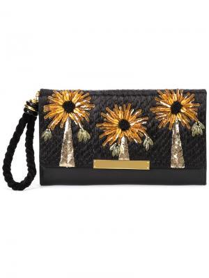 Клатч с цветочным украшением Lizzie Fortunato Jewels. Цвет: чёрный