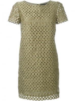 Платье с лазерной перфорацией Marco Bologna. Цвет: зелёный