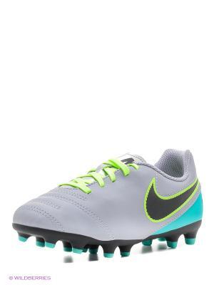 Бутсы JR TIEMPO RIO III FG Nike. Цвет: зеленый, светло-серый, черный