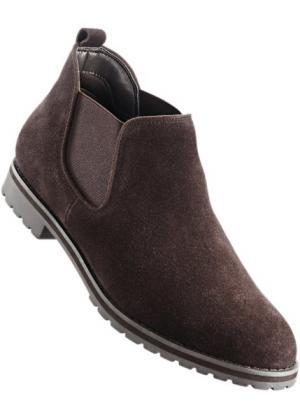 Замшевые ботинки-челси (темно-коричневый) bonprix. Цвет: темно-коричневый