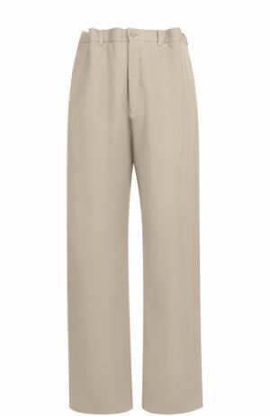 Хлопковые брюки свободного кроя Balenciaga. Цвет: бежевый